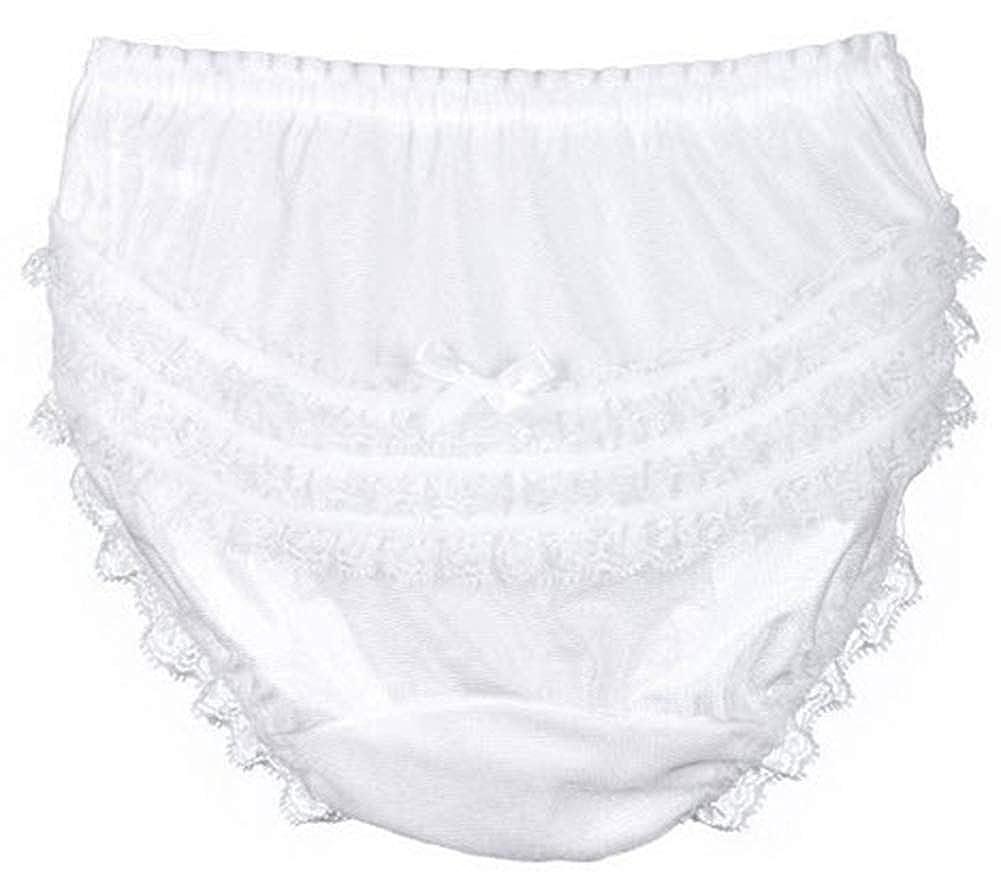 ICM Girls Nylon Lace Ruffle Seat Panty Infant /& Toddler White