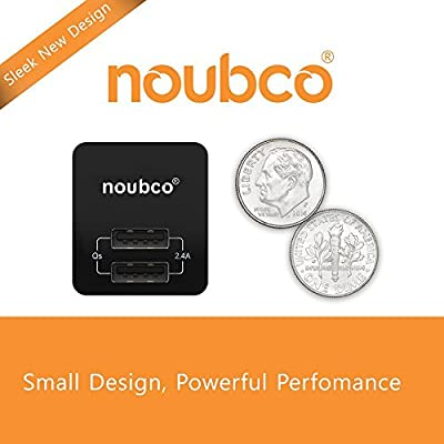 Moto and More Pixel Black for iPhone X 10 8 7 6s 6 Plus Samsung Charger 2.4A with QualSmart Technology Dual USB Travel Wall Charger Compact iPad HTC BlackBerry