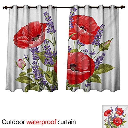WilliamsDecor Lavender Outdoor Curtains for Patio Sheer Bunch of Lavender and Poppy Flowers Fresh Rustic Botanical Bouquet W63 x L72(160cm x 183cm)