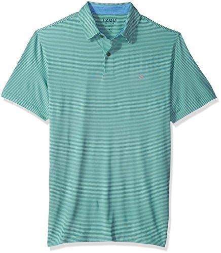 (IZOD Men's Golf Greenie Short Sleeve Stripe Polo, Dusty Jade Green, X-Large)