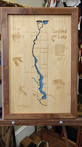 sanford-lake-michigan-framed-wood-map-wall-hanging