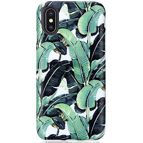 VIVIBIN iPhone X XS Case,Cute Green Banana Leaves for Men Women Clear Bumper Soft Silicone Rubber Matte TPU Cover Slim Fit Best Protective Thin Phone Case for iPhone X/iPhone Xs[5.8]