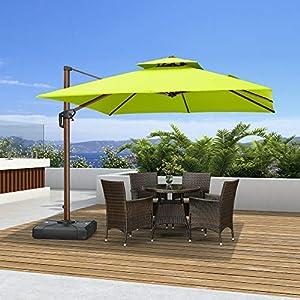 PURPLE LEAF 10ft Patio Umbrella Outdoor Square Umbrella Large Cantilever Umbrella Windproof Offset Umbrella Heavy Duty…