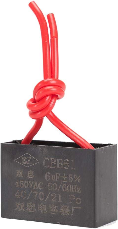 ICQUANZX Condensador de Ventilador de Techo Condensador 2 Cables para CBB61 Condensador de Funcionamiento del Motor del Ventilador de Pared 6uF 450V 50/60 Hz Paquete de 3