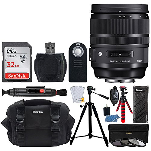 "UPC 793588531300, Sigma 24-70mm f/2.8 DG OS HSM Art Lens for Canon EF (576954) + Camera and Lens Case + 32GB Memory Card + 57"" Tripod (Black) + 12"" Tripod (Red/Back) + 82mm Filter Kit + Top Value Accessory Bundle"