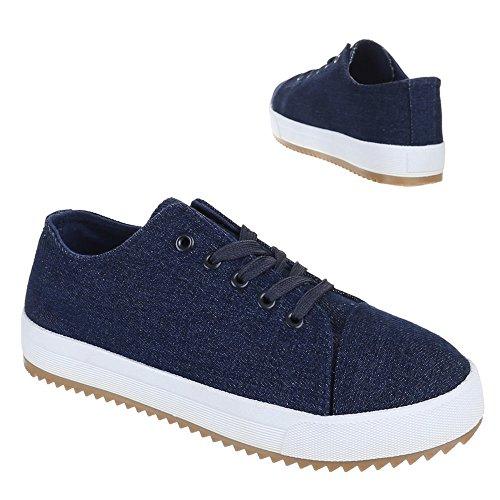 Ital-Design Damen Schuhe, AC-21, Freizeitschuhe Schnür Sneakers Blau