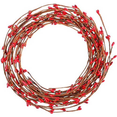 (Sumind 85 feet Red Pip Berry Garland Christmas Pip Berry for Christmas Indoor Outdoor Decorations)