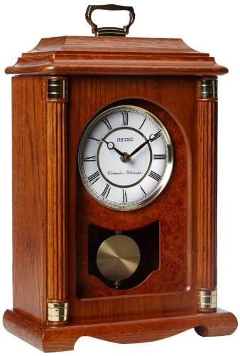 Seiko Mantel Chime with Pendulum Carriage Clock Dark Brown Solid Oak Case Metal Accents by Seiko Watches