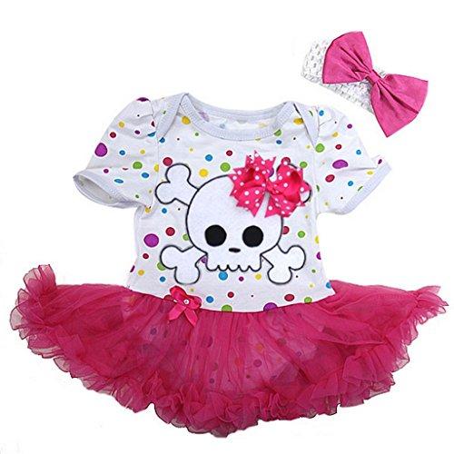 Baby Polka Dots Skull Pirate Costume Bodysuit Tutu Large Colorful Pink ()