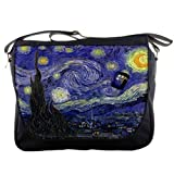 Doctor WHO Tardis Police Call Box Starry Night Van Gogh Messenger Shoulder Bag