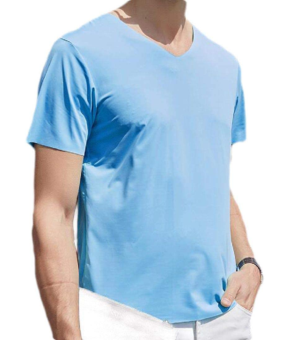 UUYUK Men Lightweight Breathable Seamless V-Neck Short Sleeve T-Shirt Tee