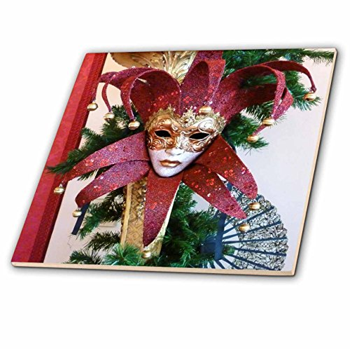 - 3dRose ct_37256_4 Red and Gold Vintage Mardi Gras Mask Ceramic Tile, 12-Inch