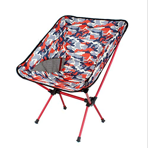 Outdoor Camouflage Camping Folding Chair,Portable Moon Chair Fishing Chair Beach Back Sketching Chair Barbecue Stool Director Chair Bearing Weight 300 Pounds,Red (Papasan Chair Camo)