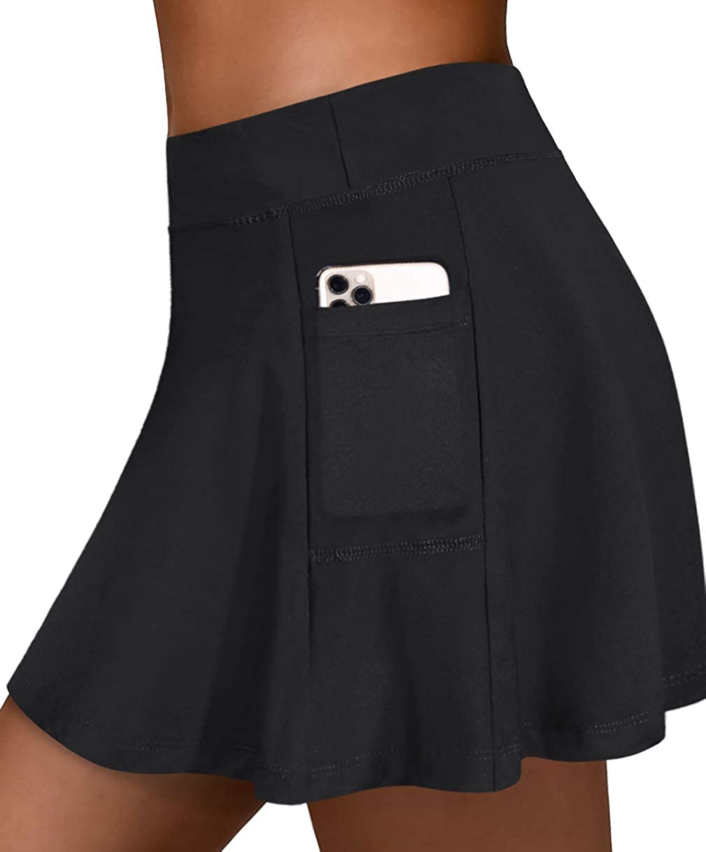 Fulbelle Womens Athletic Tennis Skirts Elastic Golf Skorts with Pockets: Clothing