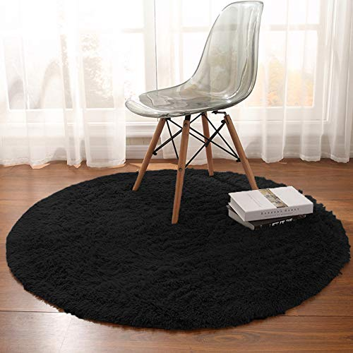 Noahas 4-Feet Luxury Round Area Rugs Super Soft Living Room Bedroom Carpet Woman Yoga Mat,Black