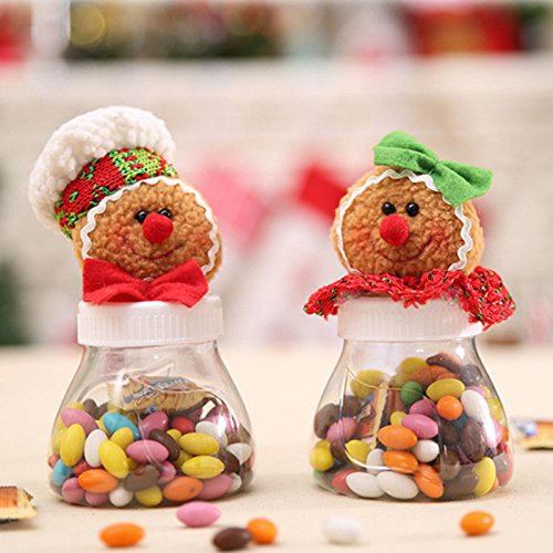OKOKMALL US--Christmas Ginger Bread Candy Bottle Jar Storage Sweet Gifts Box Container Decors