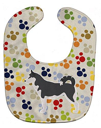 Caroline's Treasures Pawprints Baby Bib, Siberian Husky, Large - Husky Paw Print