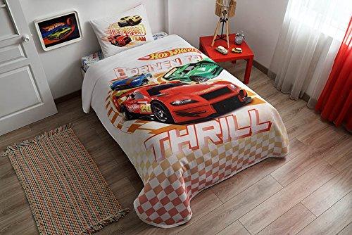 Original Hot Wheels Single/Twin 100% Cotton Bedding Bedspread/Coverlet Set 3 (Hot Wheels Comforter)