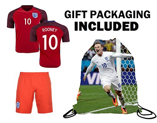 Fan Kitbag Rooney #10 England Youth Home / Away Soccer Jersey & Shorts Kids Premium Gift Kitbag ✮ BONUS Rooney #10 Drawstring Backpack (Youth Large 10-13 Years, Away Short Sleeve) (England Home Long Sleeve Jersey)