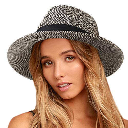 Womens Wide Brim Straw Panama Hat Fedora Summer Beach Sun Hat UPF (navyblack, L (Head Circum 22.8