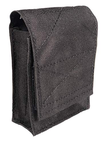 Nylon Double Handcuff Molle Pouch - Handcuff Case Holds 2 Sets of Cuffs - Tactical Pouch for Police and Security Load Bearing Vests and External Vest Carriers - Made in the USA (Black)