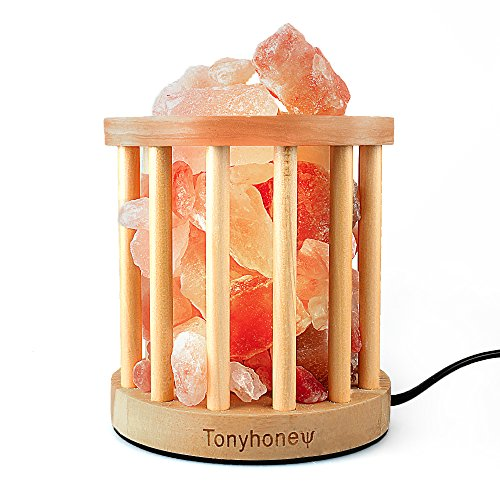 (Natural Himalayan Rock Salt Lamp, Tonyhoney Wood Art Salt Lamp Night Light, Air Purification, with Dimmer Switch, UL-Listed Cord, 2 Bulbs for Christmas Gifts & Home Decoration (Wood Art))