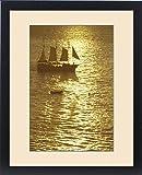 Framed Print of N.A., USA, Hawaii, Maui Sailboat in golden sea at sunset