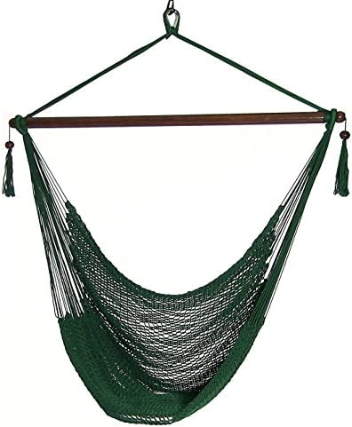 Sunnydaze Hanging Rope Hammock Chair Swing – Caribbean Style Extra Large Hanging Chair for Backyard Patio – Green