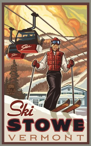 Northwest Art Mall Ski Stowe Vermont Woman Skier Unframed Poster Print by Paul A. Lanquist, 11-Inch by - Vermont Malls