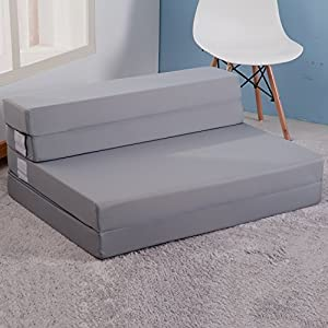 Amazon Merax Tri Fold Foam Folding Mattress and Sofa Bed for Guests Floor Mat Grey Color