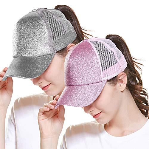 ZOORON Ponytail Hat Baseball Cap for Women Novelty Glitter Messy High Bun Trucker Hat Ponycaps Plain Baseball Visor Cap ()