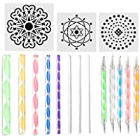 Youool Mandala Dotting Tools, 16pcs Mandala Painting Stencils, DIY Stone Embossing Drawing Stylus with Lightweight and…