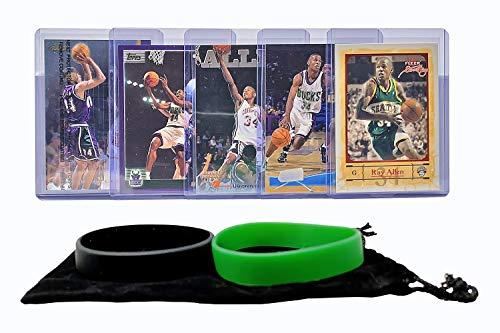 Ray Allen Basketball Cards Assorted (5) Bundle - Milwaukee Bucks, Boston Celtics Trading Card Gift - Allen Jersey Ray
