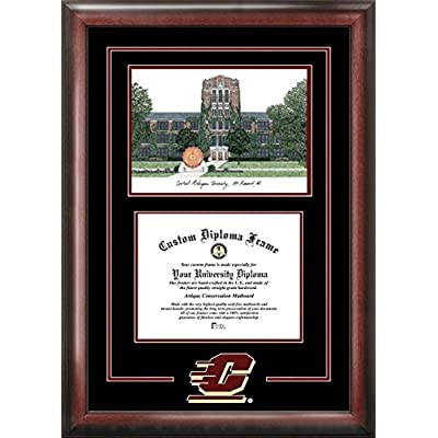 Image of Artwork Campus Images MI999SG Central Michigan University Spirit Graduate Diploma Frame with Lithograph Print, 8.5' x 11'