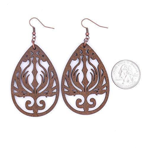 Phoenix Wood Teardrop Earrings Black Blue Brown Tan Purple Red Antique Copper Gunmetal Gold Silver (Antique Red Gold Earrings)