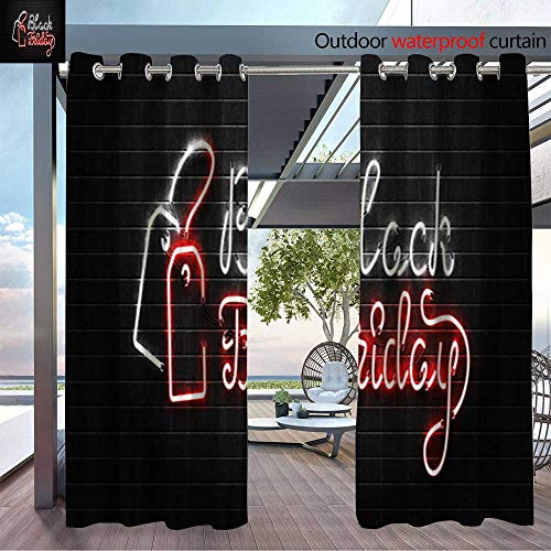 BlountDecor Patio Curtains Vector Realistic Isolated neon Sign Lettering for Decoration and Outdoor Curtain for Patio,Outdoor Patio Curtains W96 x L84/Pair ()