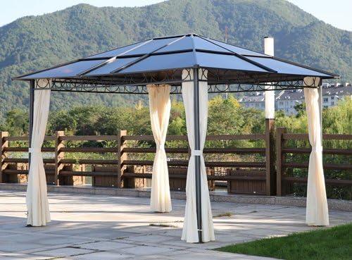 Papillon - Pérgola con techo de policarbonato – Medidas 360 x 300 cm – Estructura de metal - Modelo Peniche : Amazon.es: Jardín