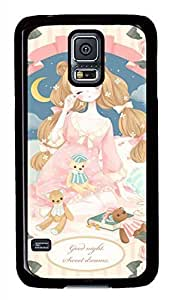 Cartoon Girl PC Black Hard Case Cover Skin For Samsung Galaxy S5 I9600
