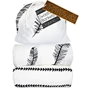 Kaydee Baby Organic Muslin Cotton Swaddle Blankets - Set of 2-47x47 Inch Large Unisex Swaddling Blanket - Different Options Available (Feather & Arrows)
