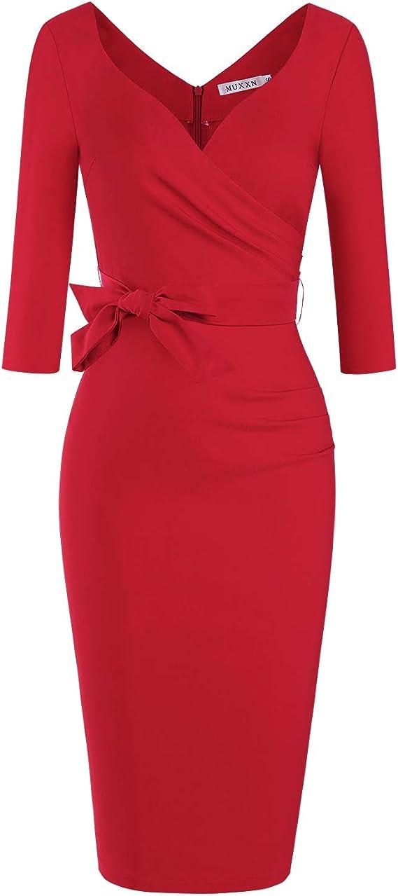 Rockabilly Dresses | Rockabilly Clothing | Viva Las Vegas MUXXN Womens Classic Retro V Neck Half Sleeve Sheath Formal Juniors Dress $32.99 AT vintagedancer.com