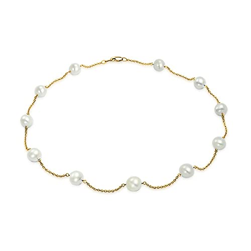 Simple Real 14K Yellow Gold Tin Cup White Freshwater Cultured Pearl Necklace For Women 16 18 20 Inch
