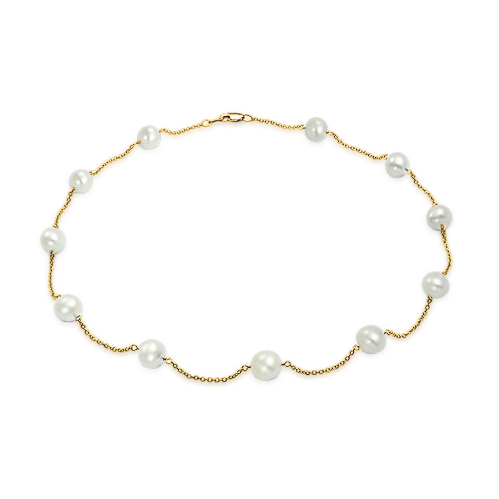 Bling Jewelry Freshwater Cultured Pearl 14K Yellow Gold Tin Cup Necklace 18 Inches