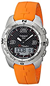 Tissot Men's T0134201720700 T-Touch Carbon Fiber Dial Stainless Steel Watch with Orange Rubber Band