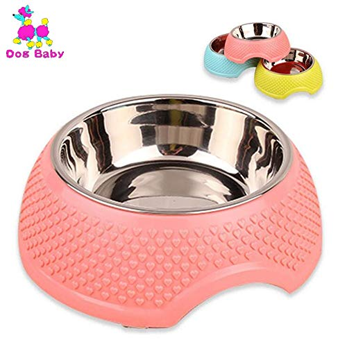 Tableware Wholesale - GoldLock Zozu DOGBABY Wholesale Pet Bowl Pet Tableware with Water Stainless Steel Seal Dog Bowl Pink Yellow Blue with Heart Pattern Cat Bowls (Pink - M)