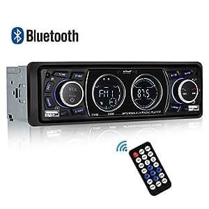 Autoradio Bluetooth Coche estéreo, ieGeek Radio Coche Manos Libres con Pantalla LCD Dual, Soporte 18 Estaciones de Memoria FM 4 * 60W Compatibles USB/SD/AUX/WMA/MP3/Bluetooth/EQ/Control Remoto, 1 DIN
