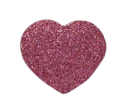 (Heart Sparkle Pink - Glitter - Iron on Embroidered Patch)