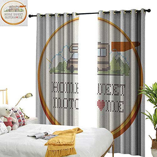 - Exclusive Home Curtains Home Sweet Home Embroidery Hoop Cross Stitch Needlework Sewing Design Trailer Home Print for Living, Dining, Bedroom (Pair) W108 x L84 Multicolor