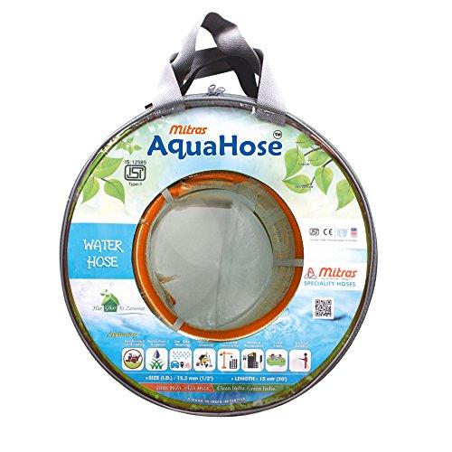 AquaHose Water Hose  12.5mm ID   1/2 #34;    50 ft.  15 mtr  ISI Marked Orange Hose Pipe