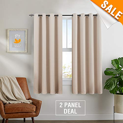 Linght Filtering Curtains for Bedroom Living Room Curtians Grommet Top Triple Weave Light Blocking Window Covering by, Pack of Two, 63-Inch, Beige ()