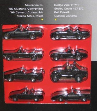 1995 Hot Wheels Black Convertible Collection Set of 8 - Mercedes SL/'65 Mustang/'95 Camaro/Mazda MX-5 Miata/Dodge Viper RT/10/Shelby Cora 427 S/C/Roll Patrol/Custom Corvette ()